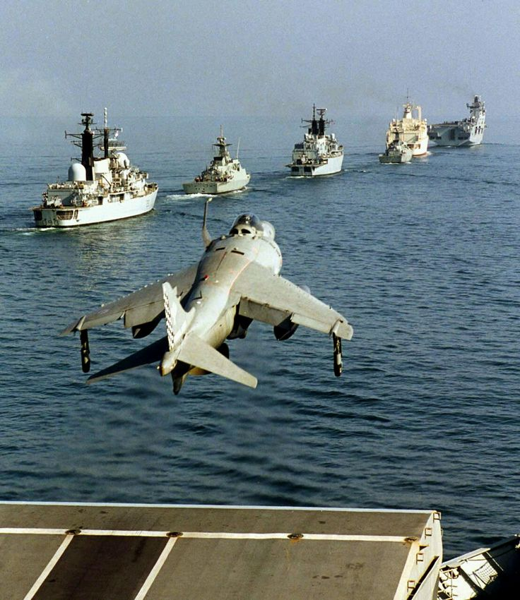 Sea Harrier, HMS Illustrious, HMS Southampton, Al Muzzar, HMS Cornwall, circa 1991.