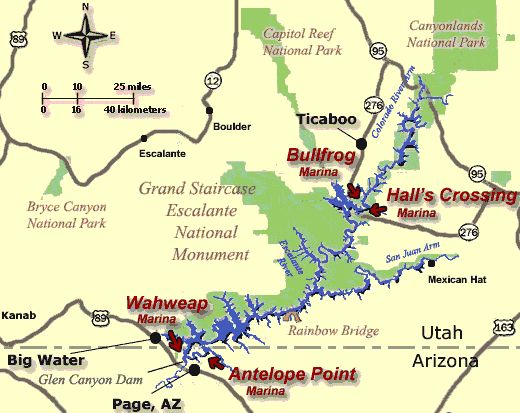 Lake Powell Map- Looks like Bullfrog marina would be ideal for us