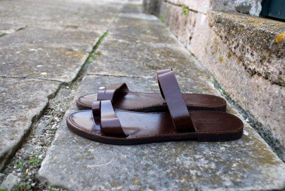 Appartamenti greco uomini sandali in pelle scarpe uomo
