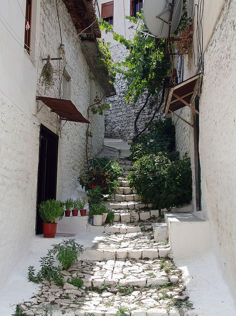 visitheworld:    Narrow alleys in the old town of Berat, Albania (by Thomas Mulchi).