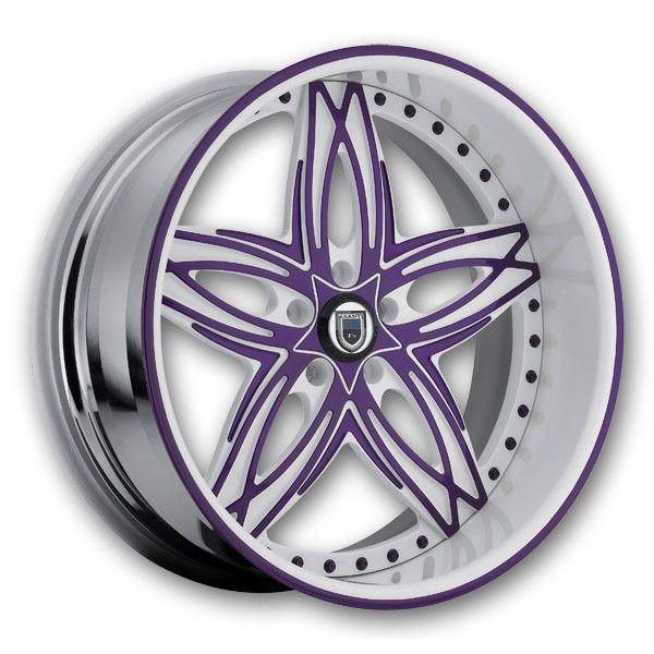 Asanti Wheels AF-186 24 Chrome w/ White Purple High Offset (Asanti-Rims-AF-186-24H.s)