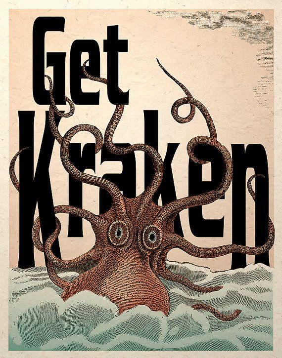 Get Kraken Octopus Sea Monster Steampunk Art by TigerHouseArt.