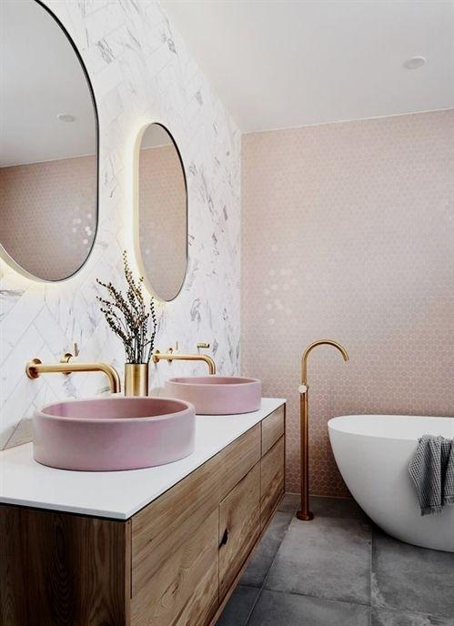 salle de bain rose inspiration déco #decoratingBathrooms Home