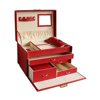 Mele & Co Red Large Leather Jewellery Box with Travel Case and Roll - RRP: £130, our price: £69.99