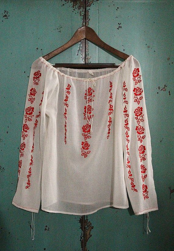 Hey, I found this really awesome Etsy listing at http://www.etsy.com/listing/129423300/vintage-red-embroidered-cotton-blouse-in
