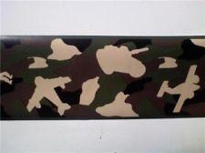 WALLPAPER BORDER 15ft CAMOFLAUGE ARMY CAMO TANK PLANES MASH CAMO RARE