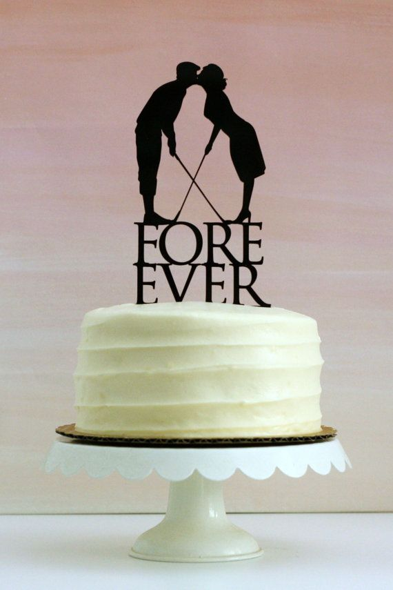 Fore Ever Golf Wedding Cake Topper with Silhouettes - MADE TO ORDER - Customizable