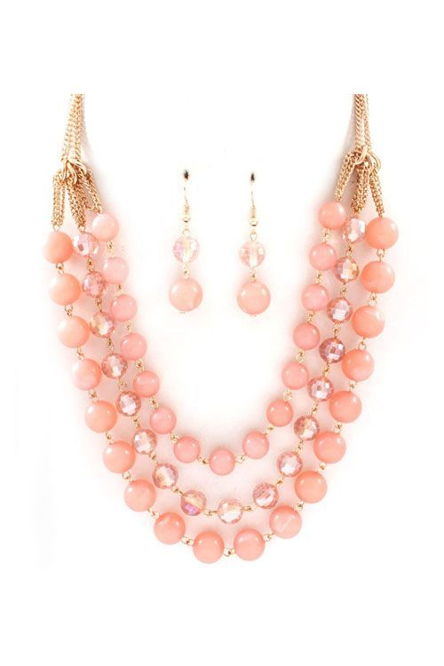 Coral Necklace & Earrings Set