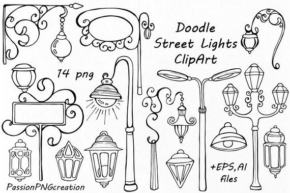 Doodle Street Lights Clipart, Hanging Signs, Street Lights Silhouettes, Lighting, Digital, PNG, EPS, vector, For Personal and Commercial Use