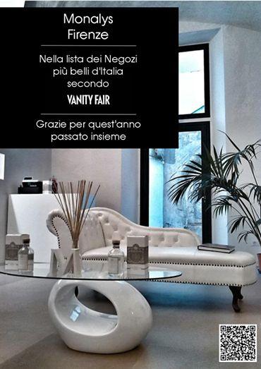 Monalys nella lista Vanity Fair dei negozi piú belli d'Italia per prodotto, design e innovazione.
