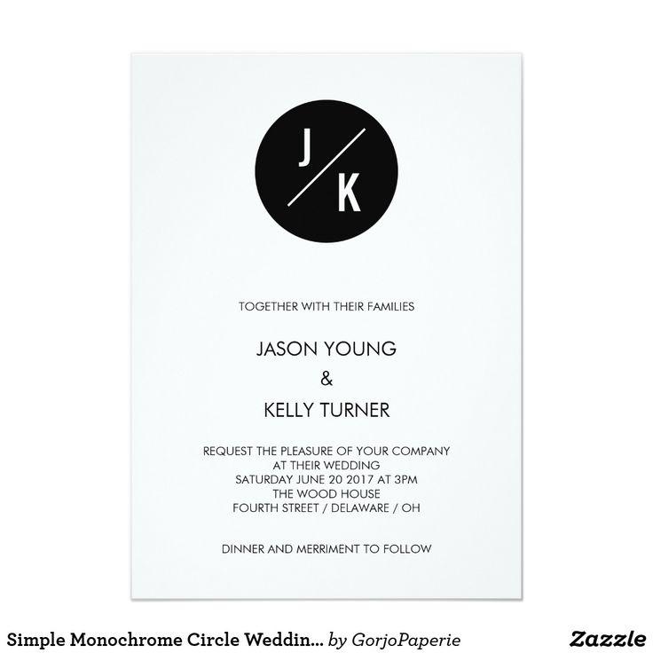 Simple Monochrome Circle Wedding Invitations