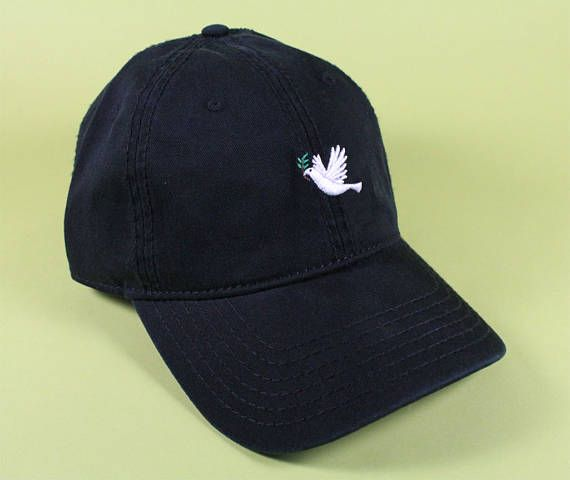 DOVE Emoji Baseball Hat Dad Hat Low Profile White Pink Black