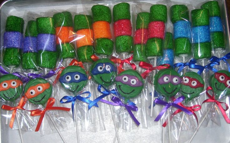 Ninja Turtle Oreo Pops And Marsmallow Pops Great Party