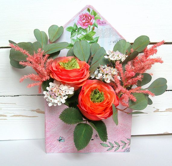 Floral arrangement Artifical flowers handmade Faux flowers in box Home wedding decor Office decor Tabletop sign Rustic decor coral green