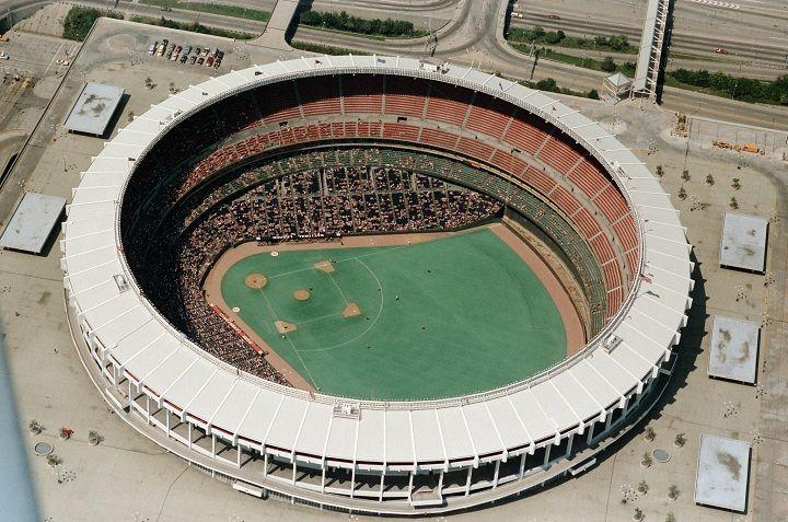 Riverfront Stadium -Tenants: Cincinnati Reds (MLB), Cincinnati Bengals (NFL) -Capacity: 52,952 (original), 40,008 (final) -Surface: Astroturf (original), Grass (final) -Cost: $50 Million -Opened: July 16, 1970 -Closed: September 22, 2002 -Demolished: December 29, 2002