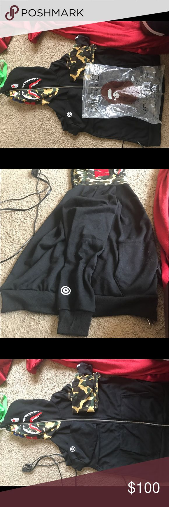 Bape hoodie Large Bape hoodie zips all the way up. I bought it and kept it in my closet for a few months and just want to get some dollars off it so selling it make an offer Jackets & Coats
