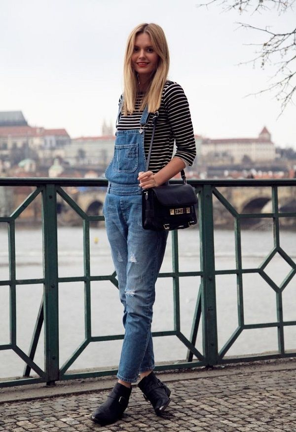 How To: Style Denim Overalls {Overalls + Stripes and Booties}