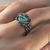 "Handmade Jewelry. Fair Masters - handmade ring Silver Wire Wrap ""A drop of the sea."" Handmade."
