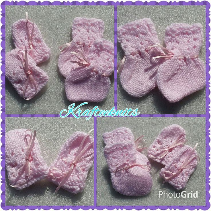 Pink bootees & mitts - babies clothing - winter warmers - baby girls clothes - baby boys clothing - winter clothing by Krafteeknits on Etsy