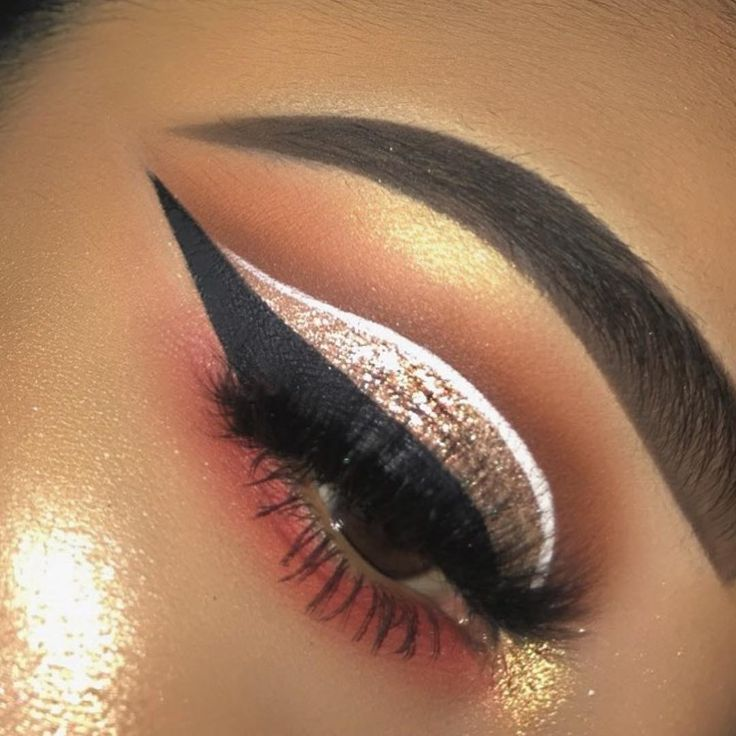 Brown, pink red, glitter eyeshadow w/ white and black liner