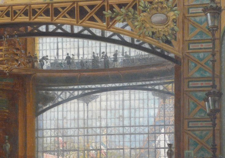 "BEROUD Louis,1889 - Le Dôme Central de la Galerie des Machines lors de l'Exposition de 1889 - Detail 08  -  TAGS/ art painter details détail détails detalles painting Carnavalet museum painters exhibition Paris France Champ-de-Mars urban urbain  people crowd foule visitors visiteurs ""Exposition Universelle""  verrière canopy Eiffel-Tower Tour-Eiffel elegance fashion mode contrôleur ticket-puncher poinçonneur ""jeune femme""  ""young woman"" serving uniforme uniform balcon balcony century…"