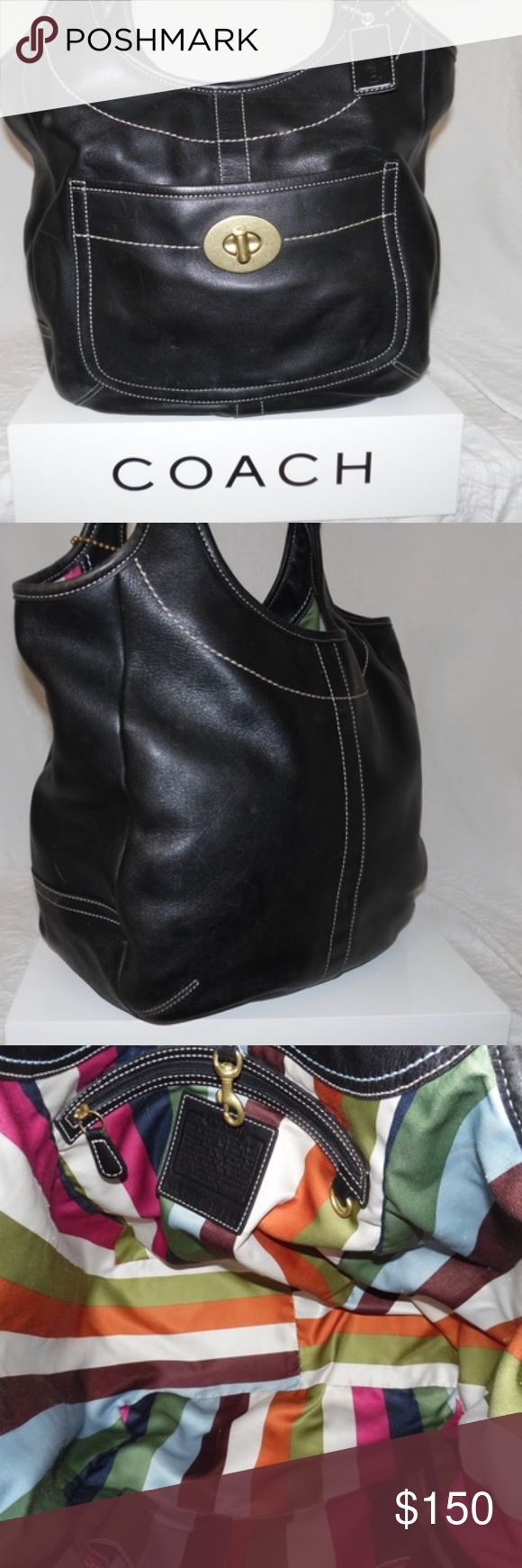 Coach Legacy Ergo Tote Hobo Purse Coach Legacy Ergo Tote Hobo Purse 👛 Black leather, beautiful sateen multi color lining. The Ergo's were made for shoulder comfort. EUC Coach Bags