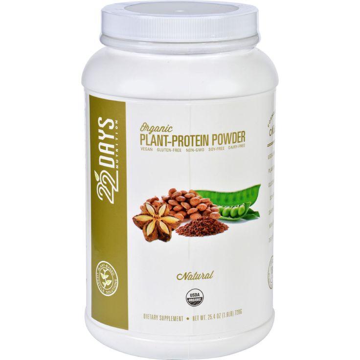 22 Days Nutrition Plant Protein Powder - Organic - Natural - 25.4 oz