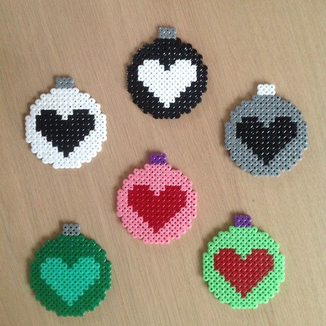 hama beads ball heart ornament