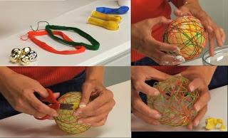 BOLAS DE LANA.  Materiales:  -Lanas. También se puede realizar con hilo de algodón.  -Cola o pegamento no toxico escolar  -1 bol o bandeja  -globos de agua  -1 cascabel  -Cinta o hilo para colgar  PROCEDIMIENTO:  *Colocar el cascabel dentro del globo e inflarlo al tamaño deseado.  * Colocar la cola en el bol e ir sumergiendo la lana y aplicarlo sobre el globo creando redes de colores.  *Esperar que se seque y desinflar el globo.  * Limpiar los excesos de pegamento y atar la cinta para…