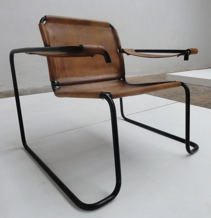 Anonymous; Enameled Tubular Metal and Leather Easy Chair, 1960s.