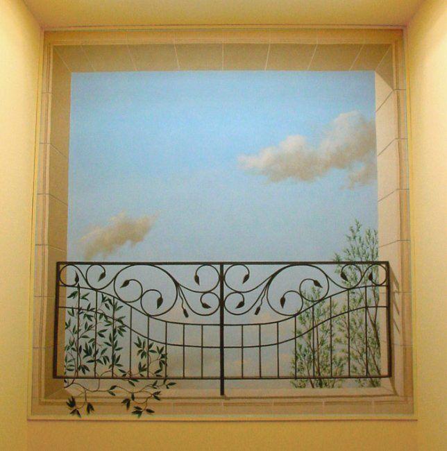 Trompe Lu0027oeil | Trompe Lu0027oeil Balaustra Sul Cielo · Wall MuralsMuralsTheSky