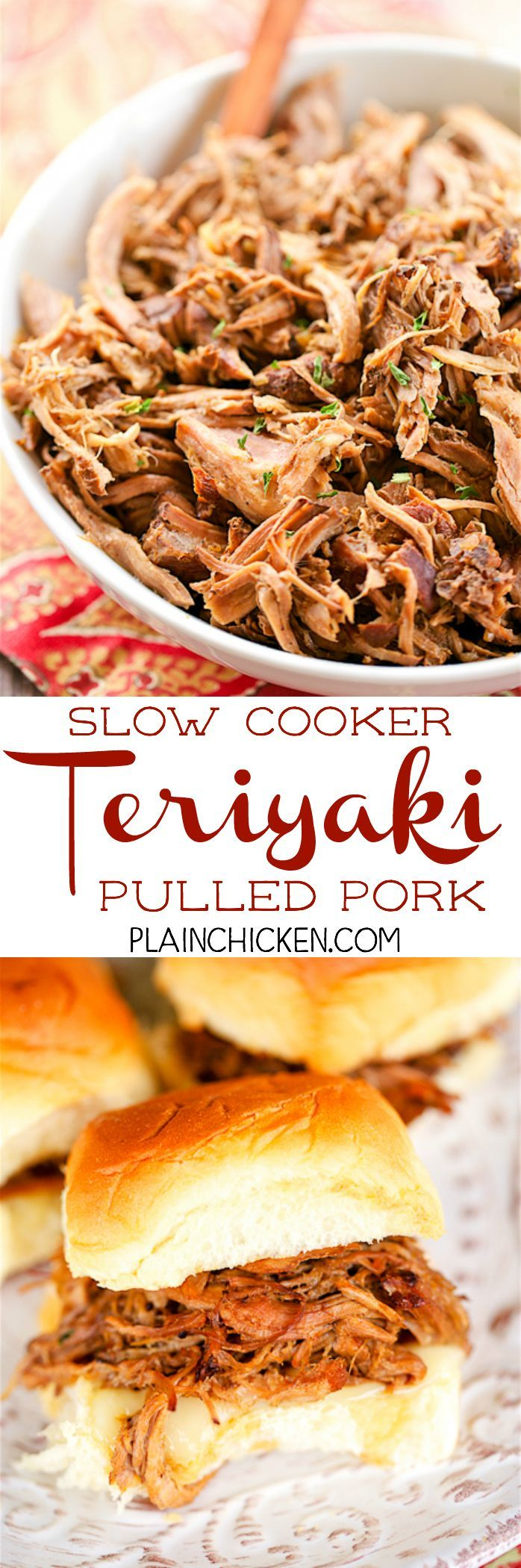 Slow Cooker Teriyaki Pulled Pork - THE BEST pulled pork!! Pork shoulder slow cooked with onions, worcestershire sauce, teriyaki sauce and water. I ate this for a week! SO good!! Serve on Hawaiian Rolls with provolone cheese for parties. Can assemble ahead