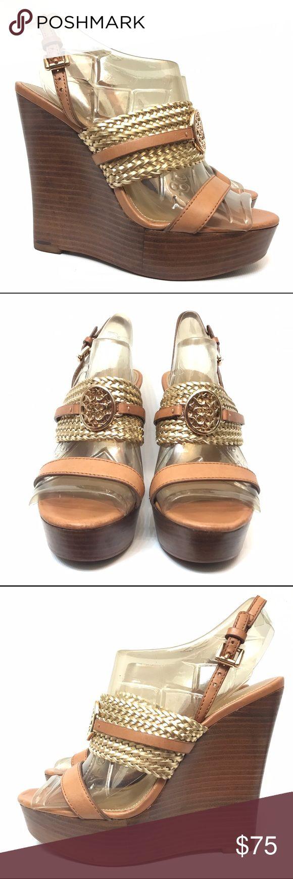 Coach wedge sandals 6 ankle strap tan high heels Platform Gold Logo Coach Shoes Heels #tananklestrapsheels