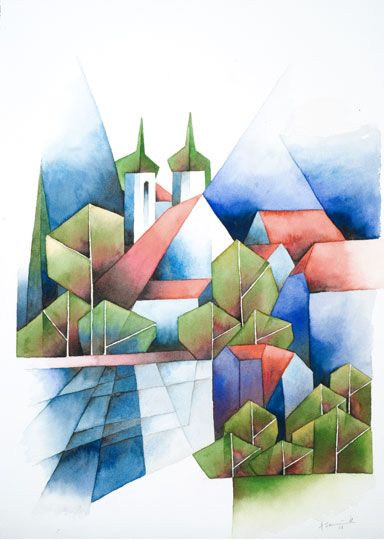 Kloster Seeon am Chiemsee Bayern, 2008, Aquarell, 51 x 36 cm