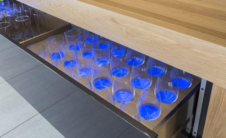 blue LED lighting wine drawer