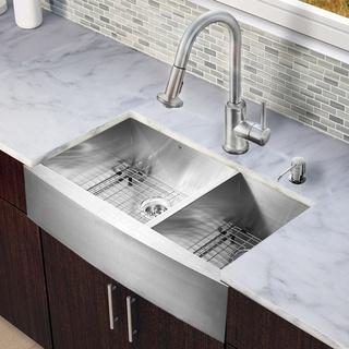 vigo all in one 36 inch stainless steel farmhouse kitchen sink and astor stainless steel faucet set by vigo - Kitchen Sink And Faucet Sets