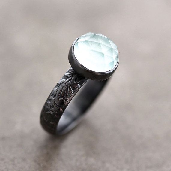 Aquamarine Ring Soft Sky Blue Faceted Stone Oxidized Sterling Silver March Birthstone Jewelry Made To Order Iceberg On Etsy Sold