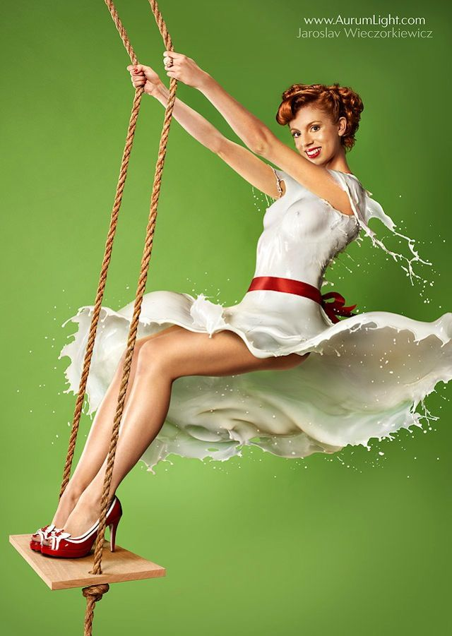 pin up girls wearing dresses made of milk 1 High Speed Photography: Dresses Made Out of Milk