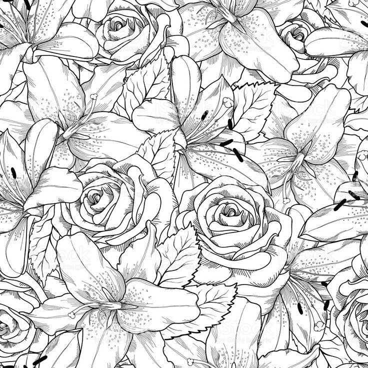 Beautiful seamless background with black and white lily and roses royalty-free stock vector art