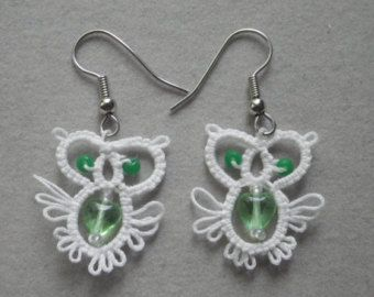tatted jewelry | owl tatted earrings with glass bead body tatting jewelry lace jewelry ...