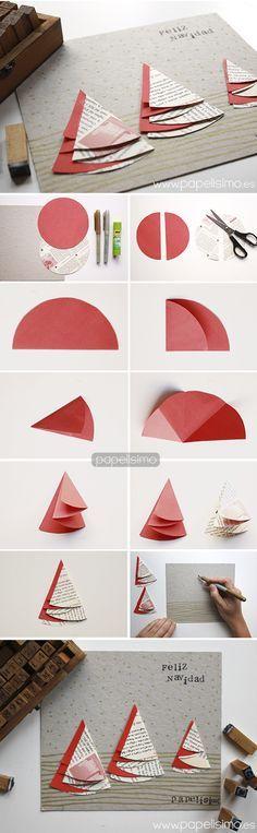tarjetas de navidad hechas a mano originales arboles de papel reciclado navideo