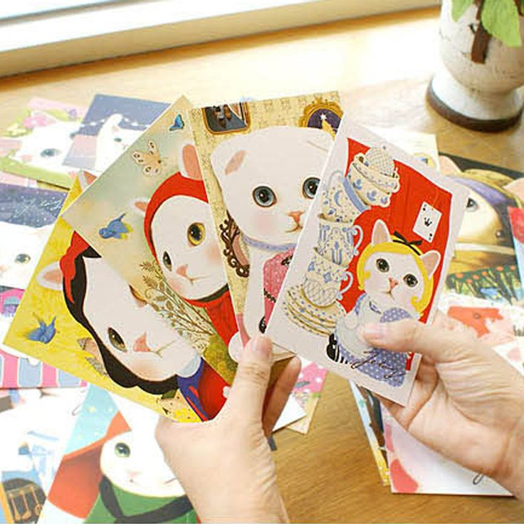 10 PCs Kawaii Korea Lucu Jetoy Kucing Putih Tipe Satu Halaman Kartu Hadiah Kartu Pos Grosir Gaya Acak