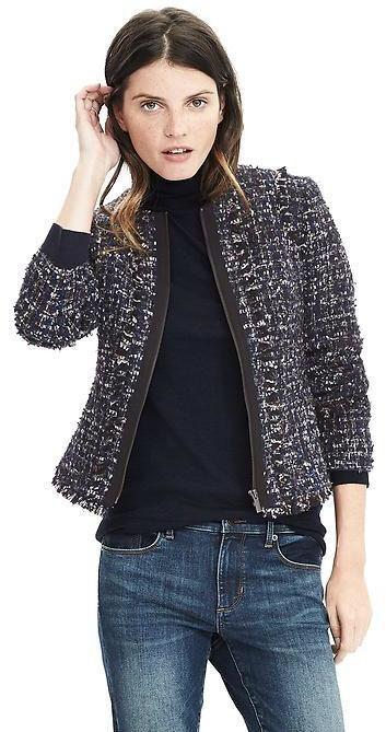 Banana Republic Tweed Collarless Jacket, petite tweed blazer jacket, click to shop now