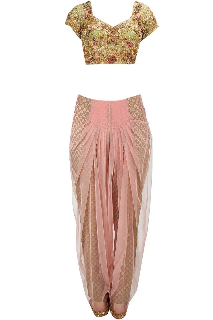 Light pink and green brocade dhoti sari set available only at Pernia's Pop-Up Shop. Love this alternative style