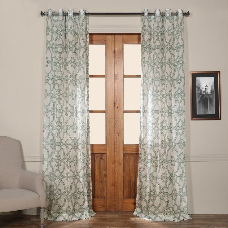 EFF Exclusive Fabrics Sea Glass Blue 50 Inch Grommet Sheer Curtain Panel  (SeaGlass Blue