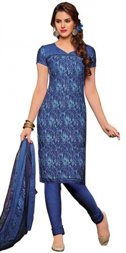 Dazzling Blue Crepe Straight Printed Salwar Suit With Dupatta.
