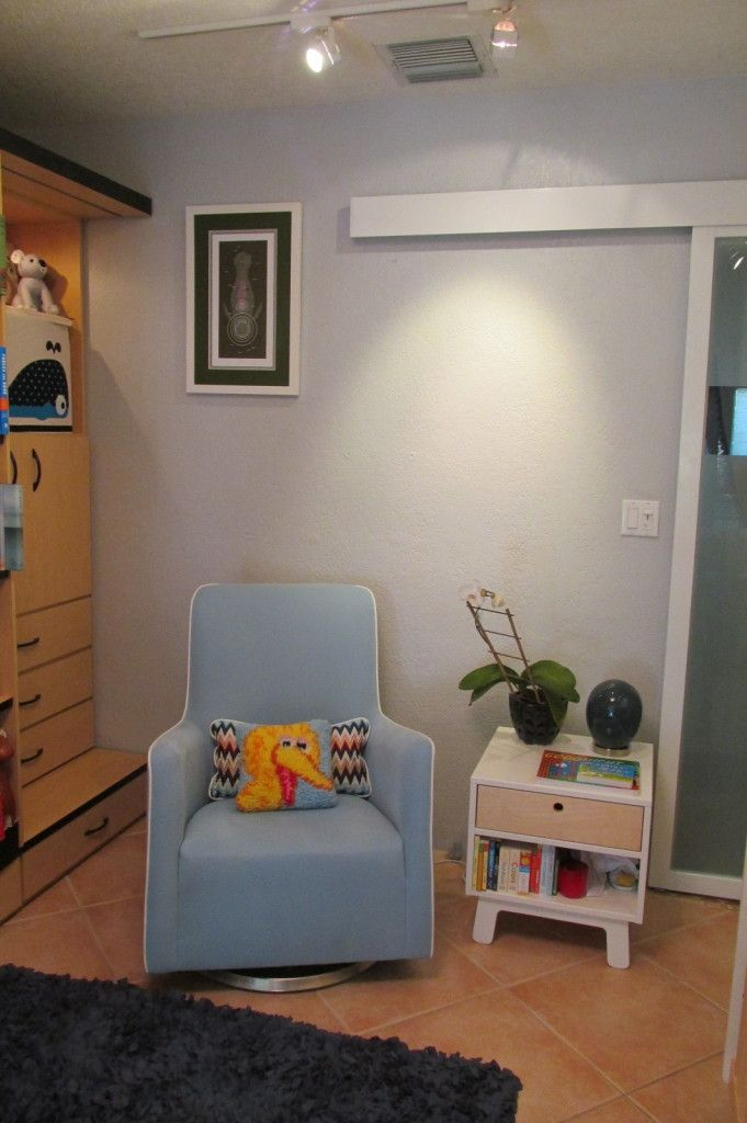 Monte Design Grazia Swivel Glider in a small space nursery with a modern and eclectic style. Project Nursery - IMG_1329