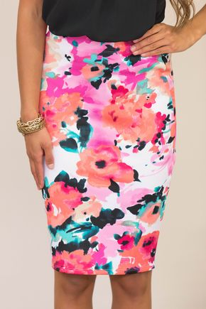Secretly In Love Floral Skirt Fuchsia