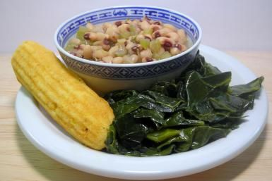 Quick and Convenient Hoppin' John With Ham and Rice: Black-Eyed Peas, Collard Greens, and Cornbread Sticks