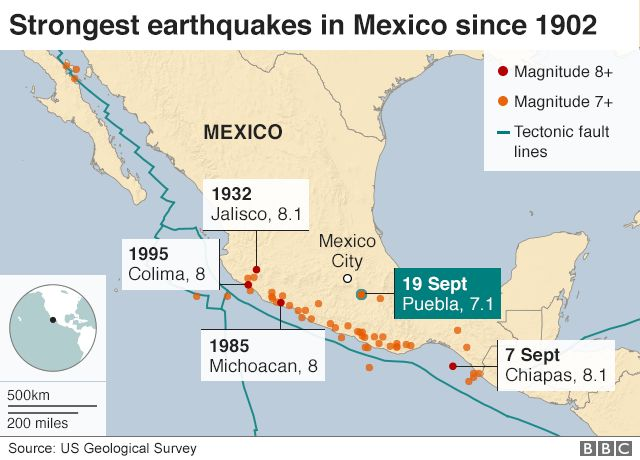 Map showing strongest earthquakes in Mexico since 1902